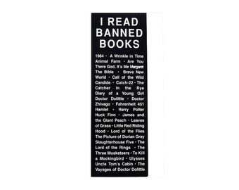 "Book Lover's Bookmark - I Read BANNED BOOKS Bookmark for Librarians, Book-Lovers and Readers - 1"" x 6"" Bookmark"