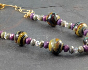 Lampworked Beads, Czech Glass , & Swarovski Crystals on a 14k Gold Filled Chain Necklace, Statement Necklace