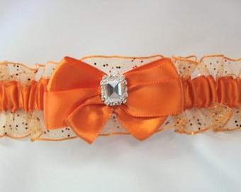 Prom garter Orange Sparkle Wedding garter tossing Garters