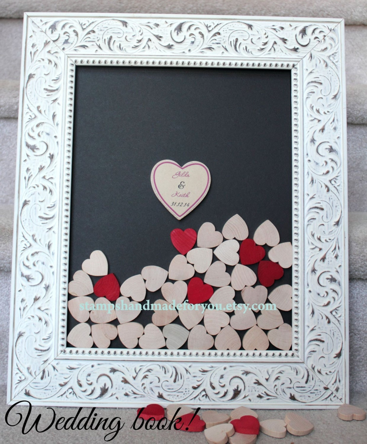 White Wedding Guest Book And Unique Heart By Stampshandmadeforyou
