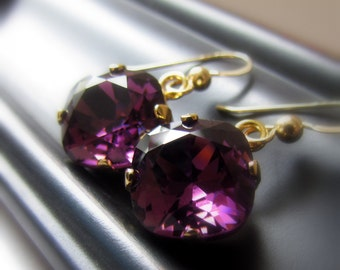 Amethyst Crystal Earrings, Cushion Cut, Bridesmaid Earrings, Amethyst Wedding Earrings, Swarovski Crystal, Dangle Earrings, Gold Filled