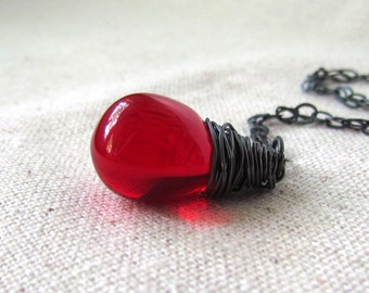 Ruby Red Glass Necklace, Czech Glass Teardrop, Oxidized Sterling Silver, Wire Wrapped Pendant, Dark Red Necklace