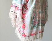 Bohemian mint/rose vintage floral fringe jacket. Studded  kimono cardigan