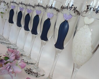 Champage Flutes - Hand Painted Personalized Bridesmaid Dress Wine Glasses -  Bridal Party Glassware - Gift Wrapping Available