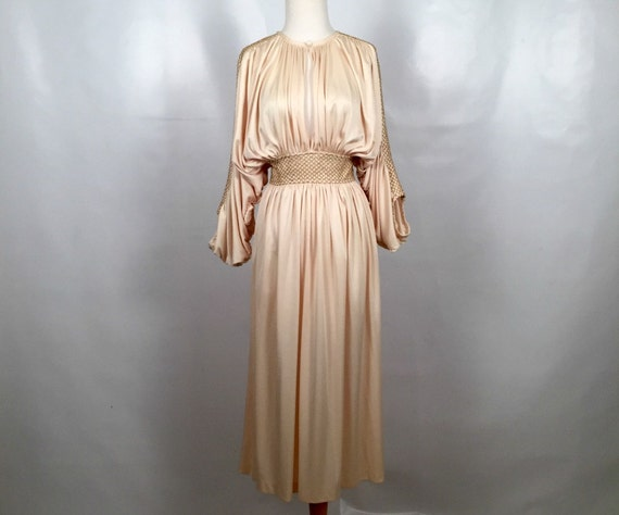 Vintage Ivory Party Dress with Gold Accents