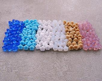 Bell Flower Czech Glass Bead mix, Baby Bell Flower mix, Czech glass flower bead mix, 4x6mm (60pcs) NEW