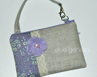 Ready to Ship Serenity Lavender Grey Natural Japanese Linen Lace Rosette Phone Case Pouch Wristlet Zipper Back Zipper Pocket Lavender Sand