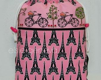 Choose Any Fabric in My Shop or Black and Pink Paris Eiffel Tower Drawstring Backpack with Pockets Zipper Various Size Available