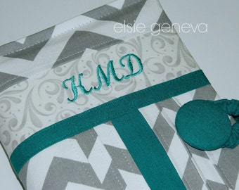 Made to Fit Personalized Grey Chevron Teal Floral Stripe or Any Other Accent Color Bible Journal Cover or Heart Option