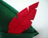 Pan Hat - Handmade, Forest Green, Felt, Pan, Little Boys, Fly, Dress Up, Costume, Pretend Play