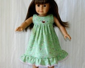 FREE SHIPPING / 18-Inch American Girl Doll Nightgown, also fits Bitty Babies, Cotton-KNIT  // Quality Handmade, Ladybugs, Flowers, Hearts