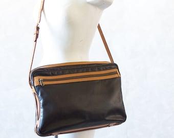 Vintage Black Tan Leather Satchel Tote Bag