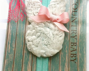 Bunny Headband...Baby Easter Headband...Baby Bunny Headband...Easter Headband