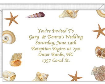 Seashells Invitations    Personalized    With Envelopes. Wedding Invitations Party  Invitations.