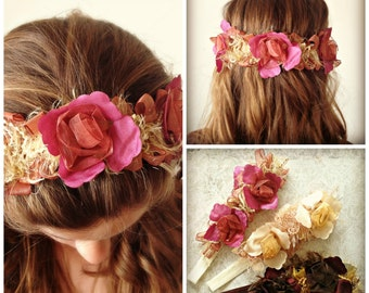 Plum and Gold Floral Headband Plum Wine Gold Cream Wedding Bridal Bridesmaids Flower Girl Mommy and Me Shabby Chic Rennaisance Victorian