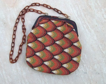 Vintage Bargello Needlepoint Purse with Tortoise Lucite Chain Italian Tapestry Purse