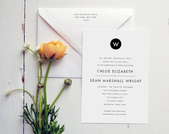 Modern Monogram Wedding Invitation by JPress Designs - monogram, elegant, letterpress, classic, save the date, wedding suite, sophisticated