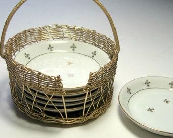 Vintage Fleur de Lis Coaster Set, Basket Full of Coasters, Gold Rimmed Coaster Set, Andrea by Sadek Coaster Set, White Gold Coaster SEt