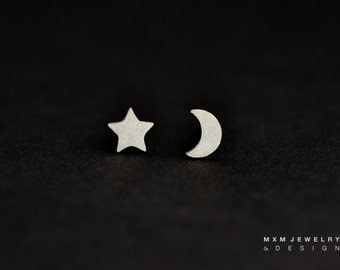 Sterling Silver Moon & Large Star Stud Earrings