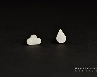 Sterling Silver or Solid Gold Cloud & Rain Drop Mix Stud Earrings