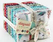 DAYSAIL Fat Quarter Bundle - Bonnie and Camille for Moda - 18 x 22 Fabric Squares - Nautical Fabric - Vintage Floral