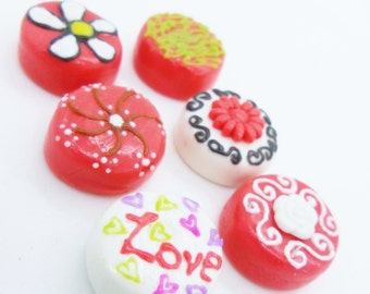 Miniature Food, Polymer Clay Beads Supply, 6 pieces
