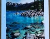 Christie Marie Elder, Lake Tahoe, Sand Harbor art card, mountain lake, blank Art Greeting Cards, Note Card, envelope Framable art card