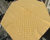 Hand-Woven Vintage Tablecloth Heavy Cotton in a Gorgeous  Apricot Orange Checkered Pattern