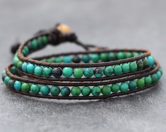 Chrysocolla Double Wrap Brown Leather Bracelet