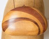 Vintage Collectible Rafael Sanchez Natural WOOD Clutch Purse
