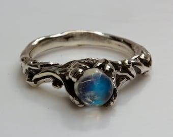 Blue Moonstone tree branch ring Sterling Slver or 14k Gold  NYC Blue Bayer Design