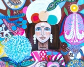 Demasiado corazon-digital print, art girl, frida kahlo, flowers, bohemian, folk, funky, mexican, primitive.