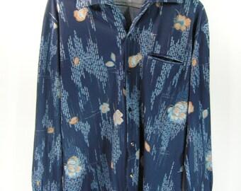 vintage 70's shirt men's medium navy blue flower pattern disco retro long sleeve hipster