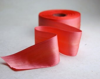 Double faced silk satin woven edge 36mm 027 Peach 1 yard length of Hand Dyed Silk Ribbon Holiday Christmas