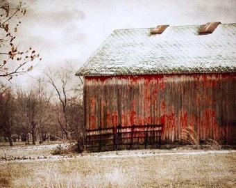 Red Barn Photography, Rustic Red Barn, Rustic Home Decor, Red Barn Landscape, Red Barn Picture, Farmhouse Decor, Barn Decor, 8x10