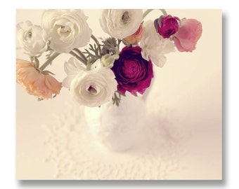 Ranunculus Photograph, Spring Pink and White Flowers, Romantic Flower Bouquet, Bedroom Home Decor, Cottage Chic Home Decor, Ranunculus Print