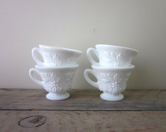 Set of Four Milk Glass Punch Cups Teacups Grape Leaf Pattern