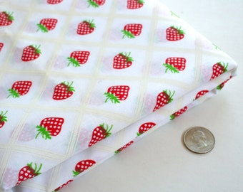 Yardage of vintage fabric with adorable strawberry print. Cotton, cotton blend, berries, red, green, white, children's clothing, kitchen
