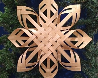 christmas gift ideas, unique gift, white ash snowflake, woven star snowflake, window star, tree topper, celtic knot, love knot, woven basket