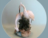 Heron Bird Figurine, Heron Décor, Bird Décor, Pair of Birds Tropical Bird Decoration Decorative Bird Figure White Bird Couple Tropical Décor