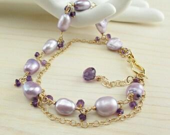 SALE Lavender Pearl Bracelet, Baroque Freshwater Pearl Gold Bracelet, Purple Amethyst, Lilac, Light Purple, Wire Wrapped Gold Bracelet