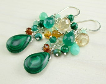 Last One! Malachite Earrings, Multi Green Gemstone Dangle, Green Onyx Chrysoprase Sterling Silver, Lemon Quartz, Natural Gemstone