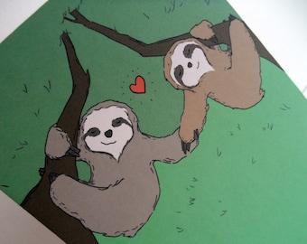 Lazy Love 5x7 Sloth Card