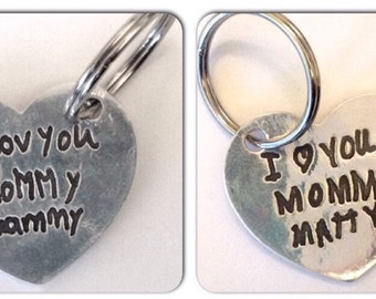 Mother's Day Gift from 2 Children.  A Double sided Silver heart Shaped Keychain with their  message to Mom by Surfingsilver