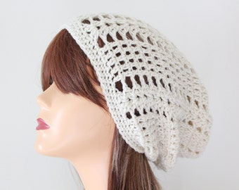 Handmade Hat Crocheted Ivory Beanie Hat