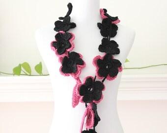 Crocheted Dark Rose and Black Scarf, Scarflette