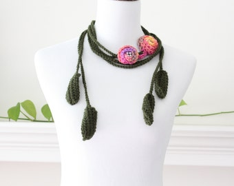 Crochet Pink Orane Purple Lariat, Scarf, Necklace, Scarflette