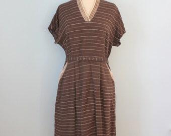 1950s wool dress / 50s brown wool striped dress / Chocolate Truffle dress