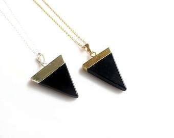 Black Onyx Necklace, Mineral Necklace, Minimal Triangle Geometric Necklace, Unisex Mens Necklace