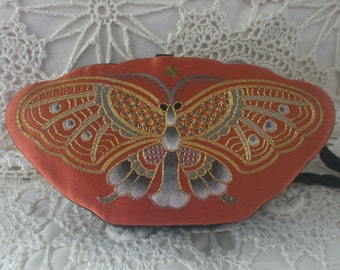 Silk Hand Needlepoint Butterfly Design Box Evening Purse with Twisted Shoulder Cord